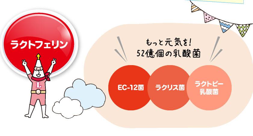 ラクトフェリンもっと元気を!52億個の乳酸菌EC-12菌ラクリス菌ラクトピー乳酸菌