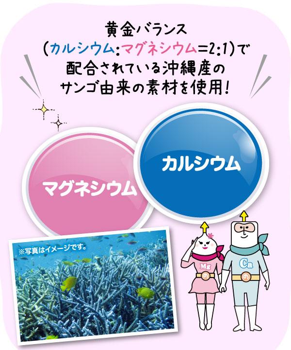 黄金バランス(カルシウム:マグネシウム=2:1)で配合されている沖縄産のサンゴ由来の素材を使用!