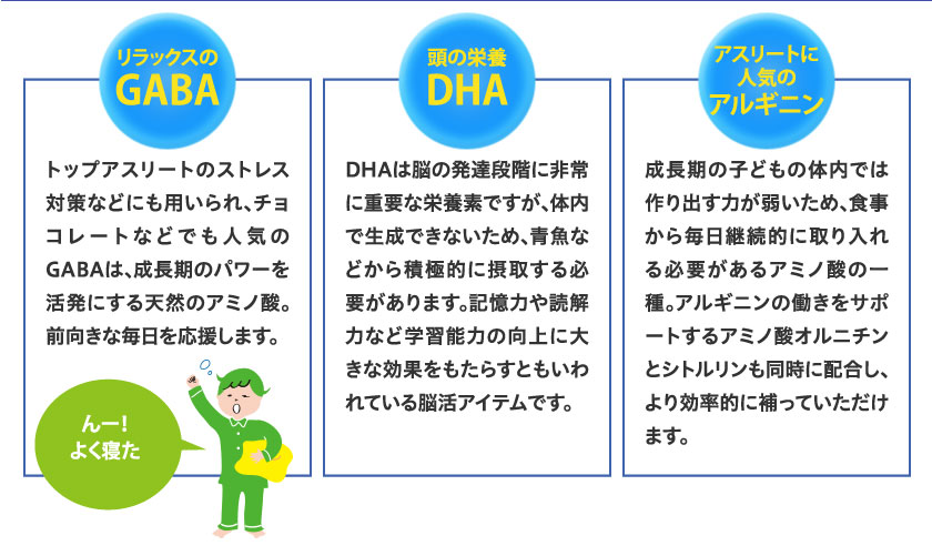 リラックスのGABA 頭の栄養DHA アスリートに人気のアルギニン