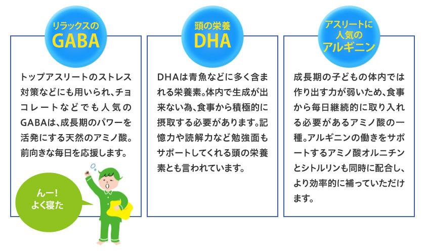 リラックスのGABA、頭の栄養DHA、アスリートに人気のアルギニン