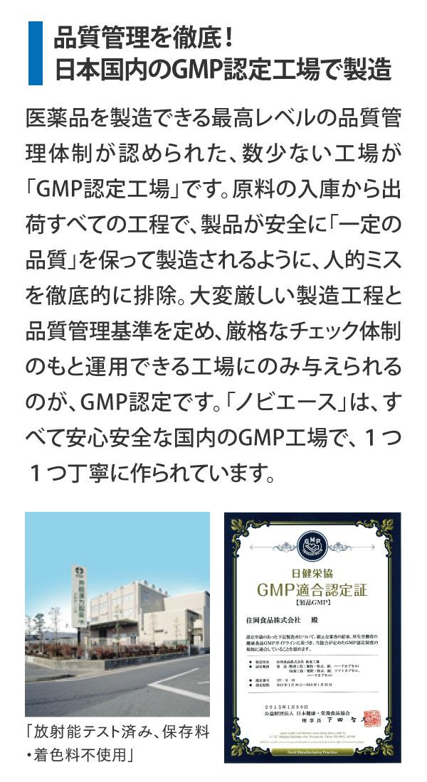 品質管理を徹底!日本国内のGMP認定工場で製造 医薬品を製造できる最高レベルの品質管理体制が認められた、数少ない工場が「GMP認定工場」です。原料の入庫から出荷すべての工程で、製品が安全に「一定の品質」を保って製造されるように、人的ミスを徹底的に排除。大変厳しい製造工程と品質管理基準を定め、厳格なチェック体制のもと運用できる工場にのみ与えられるのが、GMP認定です。「ノビエース」は、すべて安心安全な国内のGMP工場で、1つ1つ丁寧に作られています。