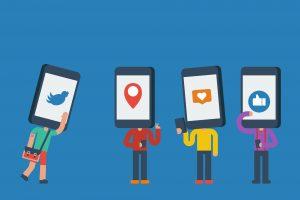 Smartphone head human in social media addiction concept